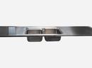Rustfast stålbordplade med isvejst stålvask Blanco Classic 8, og vulstkant på alle sider.