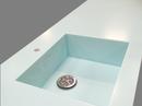 Bordplade i Dupont Corian Mint Ice, med isvejst speciallavet vask i samme materiale.