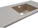 Dupont Corian bordplade, 30 mm tykkelse, med underlimet vask Blanco Subline. Farve på bordplade er Sahara. Farve på vask er Champagne.