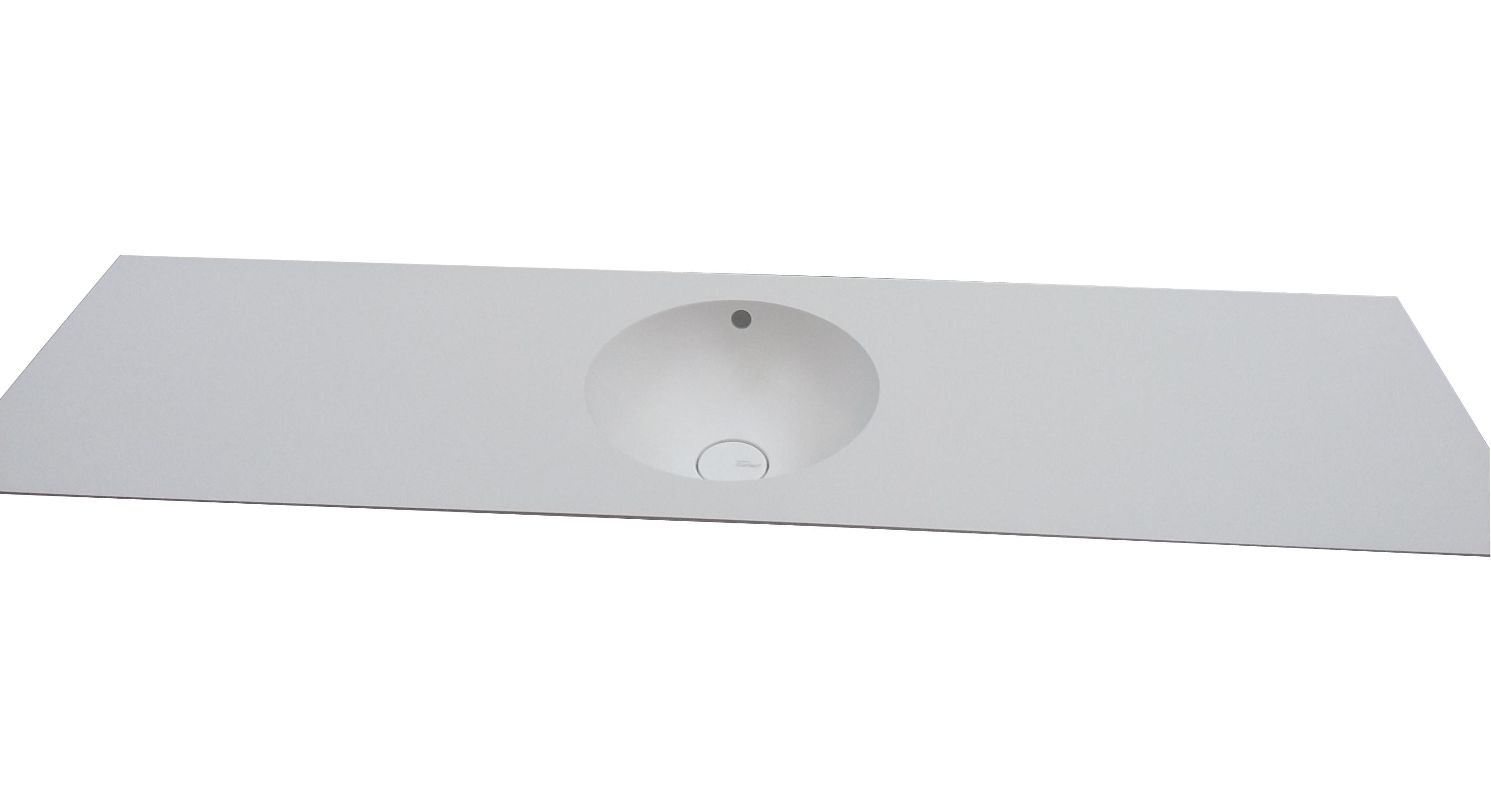 Dupont Corian bordplade til badeværelse med isvejst corianvask Dupont  Purity 7210, farve Glacier White.