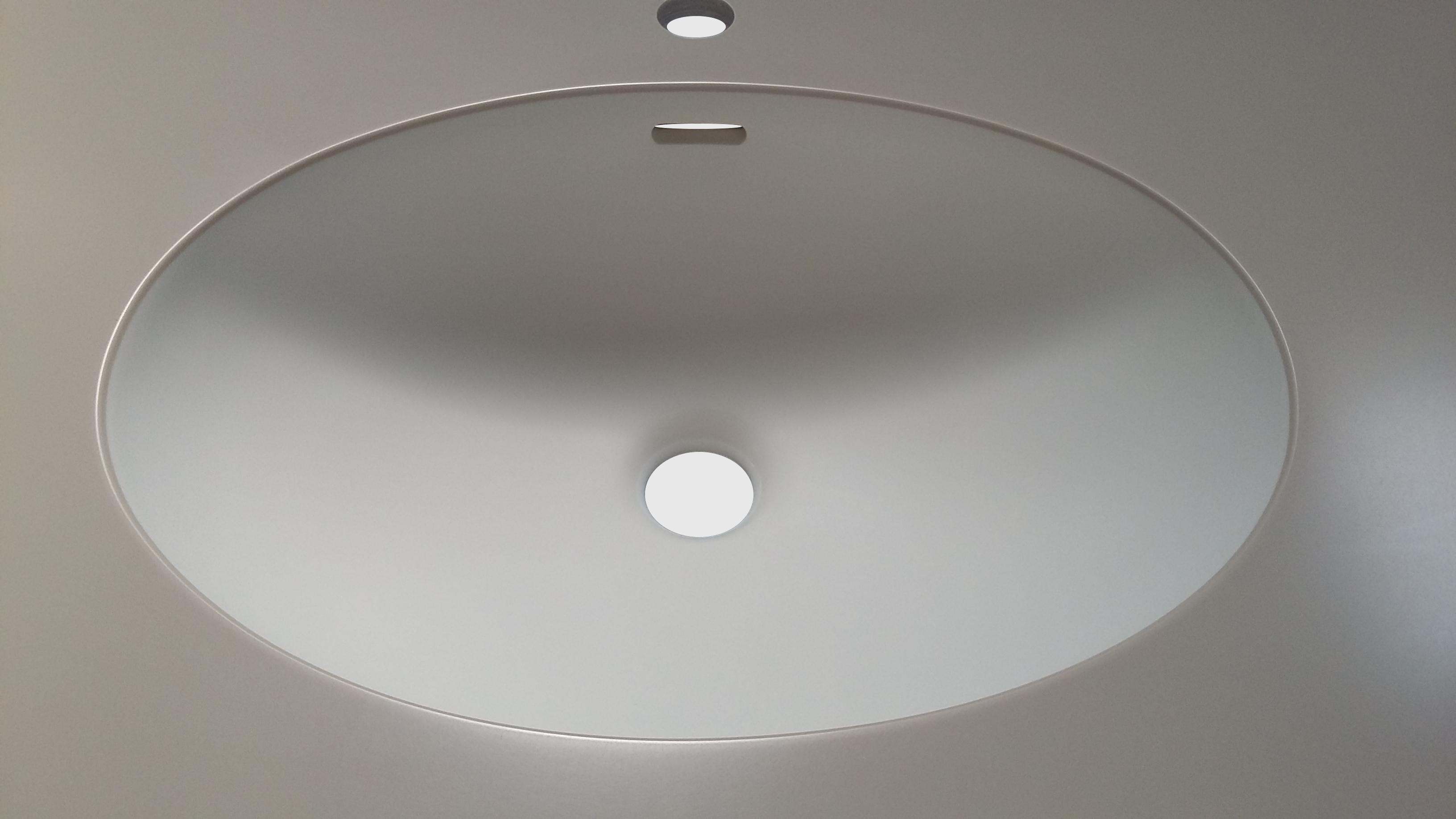 Oval corianvask til badplade isvejst i Dupont Corian bordplade.