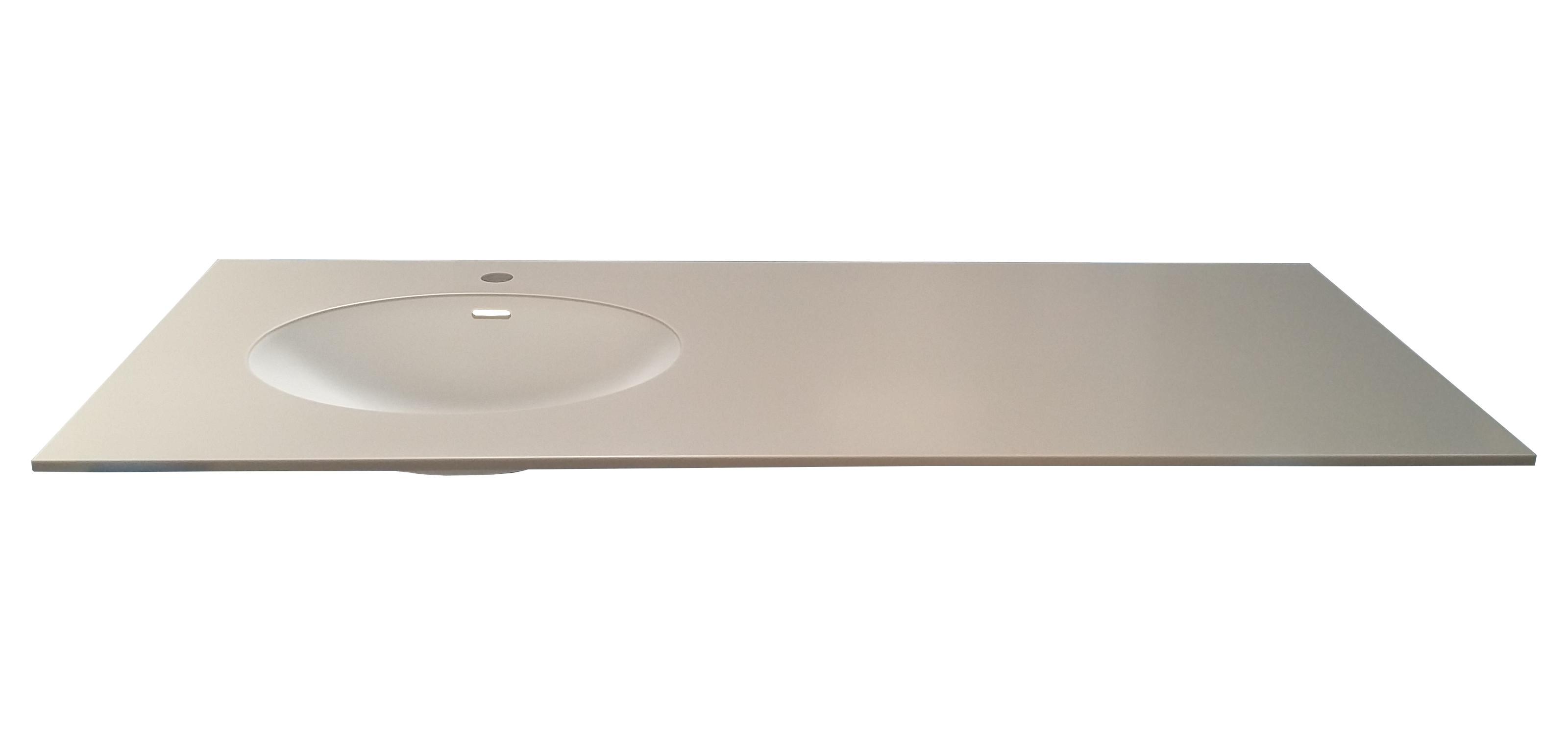Dupont Corian bordplade til badeværelse med isvejst oval corianvask.