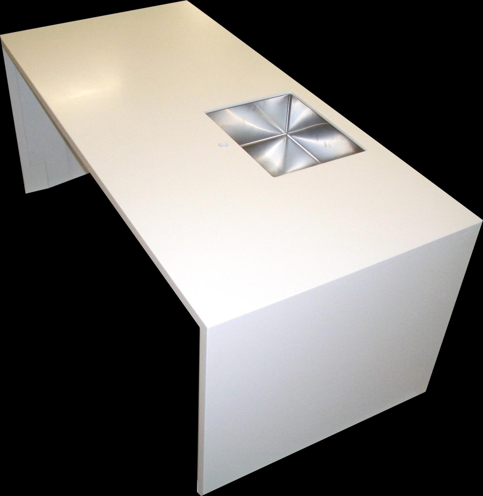 Broløsning i Dupont Corian , tykkelse 40 mm, med underlimet stålvask Intra Quadra 500.